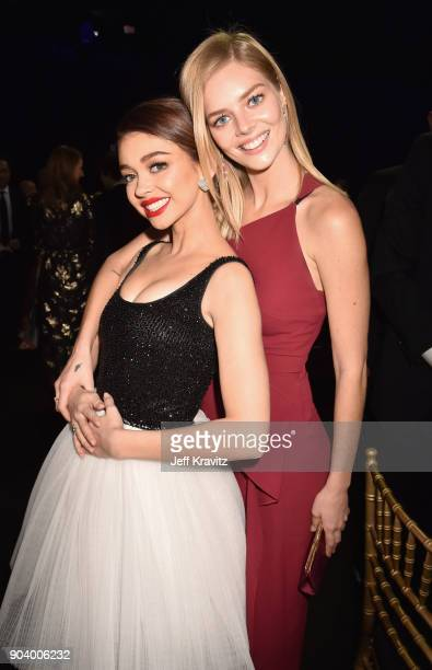 Actors Sarah Hyland and Samara Weaving attend The 23rd Annual Critics' Choice Awards at Barker Hangar on January 11 2018 in Santa Monica California