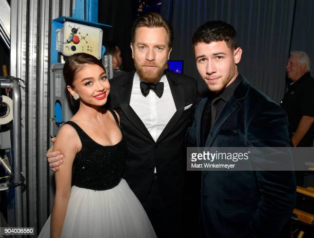 Actors Sarah Hyland Ewan McGregor and Nick Jonas attend The 23rd Annual Critics' Choice Awards at Barker Hangar on January 11 2018 in Santa Monica...