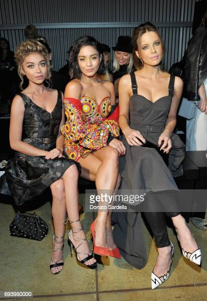 Actors Sarah Hyland Vanessa Hudgens and Kate Beckinsale attend Moschino Spring/Summer 18 Menswear and Women's Resort Collection at Milk Studios on...