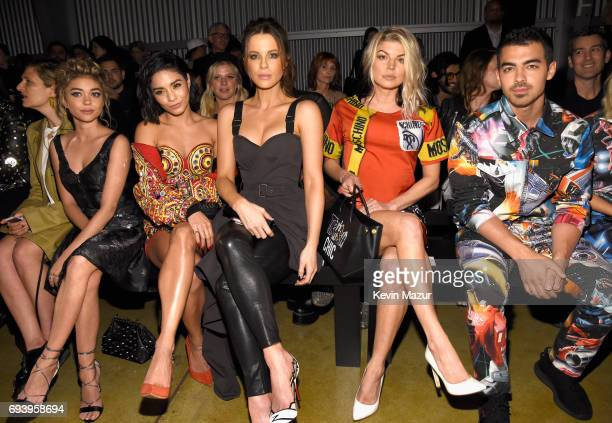 Actors Sarah Hyland Vanessa Hudgens Kate Beckinsale singers Fergie and Joe Jonas attend Moschino Spring/Summer 18 Menswear and Women's Resort...