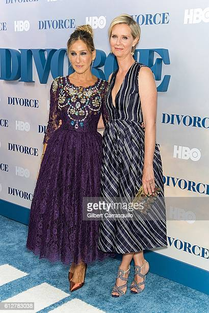 Actors Sarah Jessica Parker and Cynthia Nixon attend the 'Divorce' New York Premiere at SVA Theater on October 4 2016 in New York City