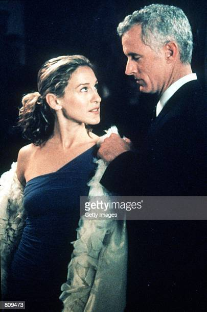 Actors Sarah Jessica Parker and John Slattery act in a scene from the HBO television series 'Sex and the City' third season episode 'Where There's...