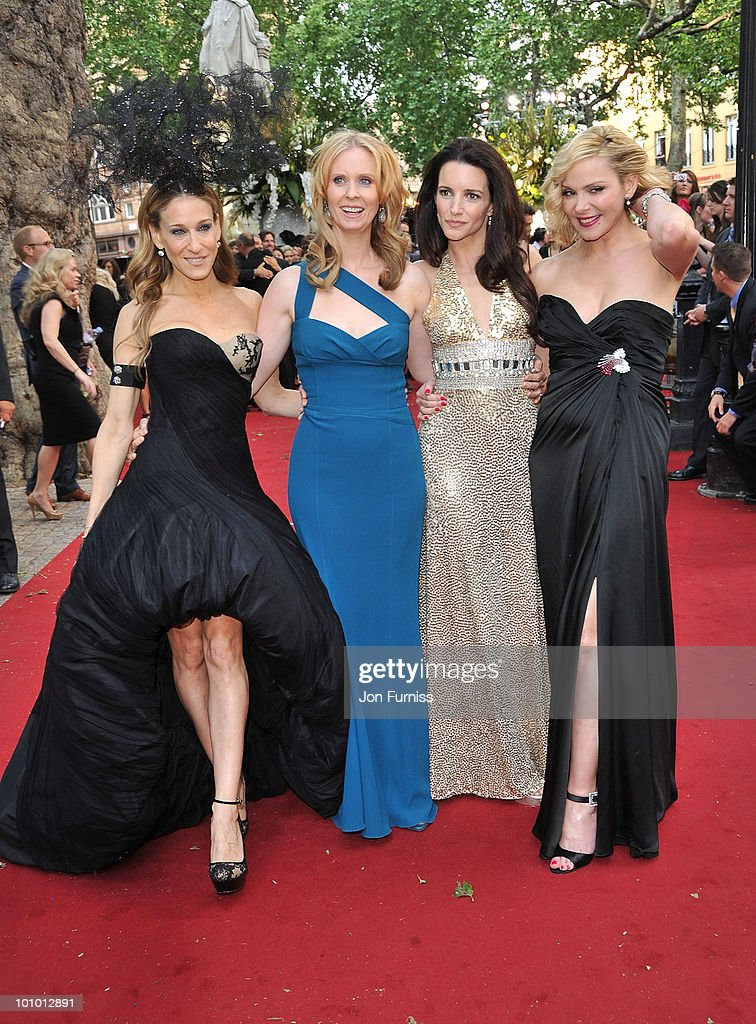 Actors Sarah Jessica Parker, Cynthia Nixon, Kristin Davis, and Kim Cattrall attend the UK premiere of Sex And The City 2 at Odeon Leicester Square on May 27, 2010 in London, England.