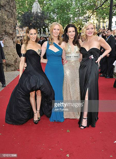 Actors Sarah Jessica Parker, Cynthia Nixon, Kristin Davis, and Kim Cattrall attend the UK premiere of Sex And The City 2 at Odeon Leicester Square on...