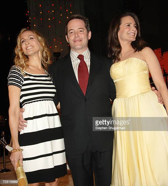 "Actors Sarah Jessica Parker, her husband Matthew Broderick and Kristin Davis attend the 20th Century Fox Premiere of ""Deck The Halls"" at Mann's..."