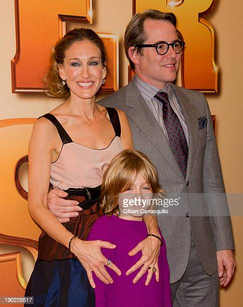 Actors Sarah Jessica Parker Matthew Broderick and son James Wilkie attend the world premiere of Tower Heist at the Ziegfeld Theatre on October 24...