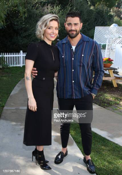 Actors Sarah Lind and Jesse Metcalfe visit Hallmark Channel's Home Family at Universal Studios Hollywood on February 19 2020 in Universal City...