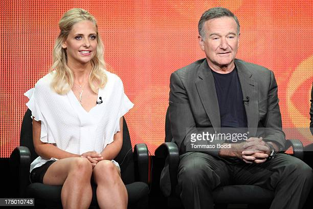 Actors Sarah Michelle Gellar and Robin Williams of the TV show 'The Crazy Ones' attend the Television Critic Association's Summer Press Tour...