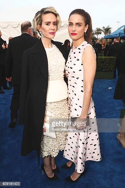 Actors Sarah Paulson and Amanda Peet attend the 22nd annual Critics' Choice Awards with Porsche and the 2017 Panamera 4 EHybrid Executive at Barker...