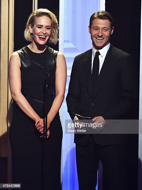 Actors Sarah Paulson and Ben McKenzie speak onstage at the 5th Annual Critics' Choice Television Awards at The Beverly Hilton Hotel on May 31 2015 in...