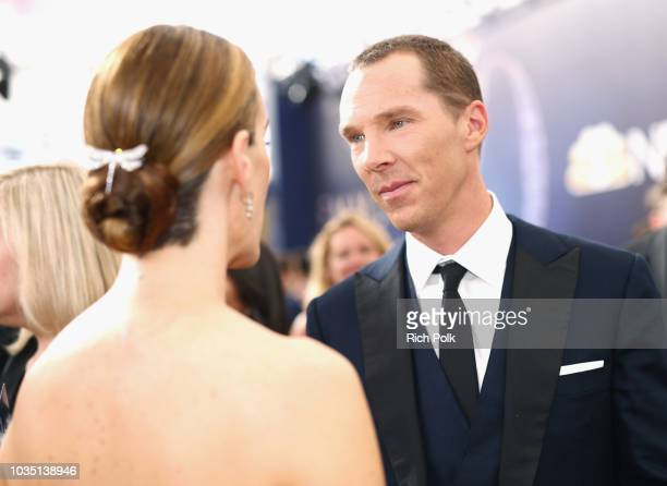 Actors Sarah Paulson and Benedict Cumberbatch attend the 70th Annual Primetime Emmy Awards at Microsoft Theater on September 17 2018 in Los Angeles...