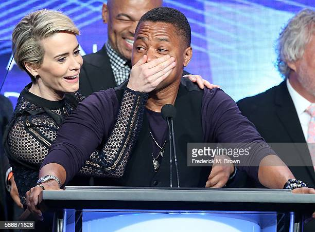 Actors Sarah Paulson and Cuba Gooding Jr onstage at the 32nd annual Television Critics Association Awards during the 2016 Television Critics...