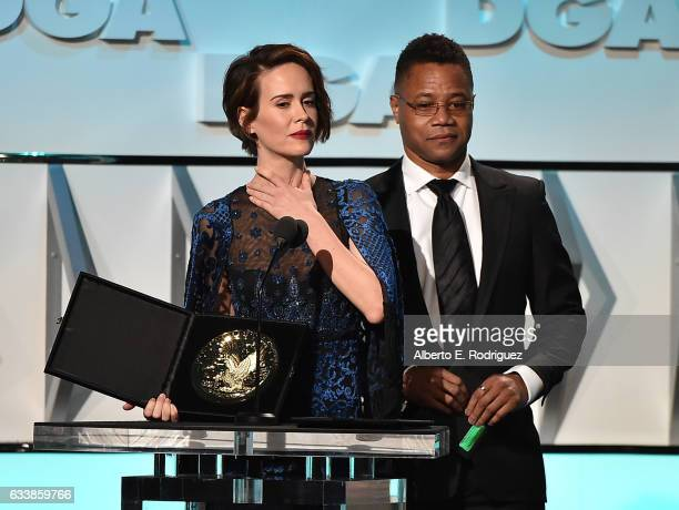 Actors Sarah Paulson and Cuba Gooding Jr onstage during the 69th Annual Directors Guild of America Awards at The Beverly Hilton Hotel on February 4...