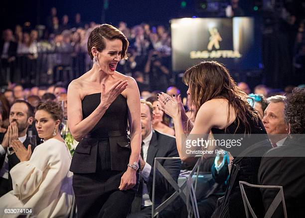 Actors Sarah Paulson and Kathryn Hahn attend The 23rd Annual Screen Actors Guild Awards at The Shrine Auditorium on January 29 2017 in Los Angeles...