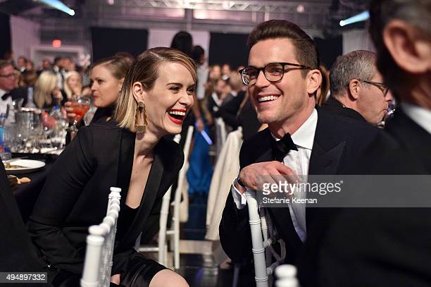 Actors Sarah Paulson and Matt Bomer and Harry Winston at amfAR's Inspiration Gala Los Angeles at Milk Studios on October 29 2015 in Hollywood...