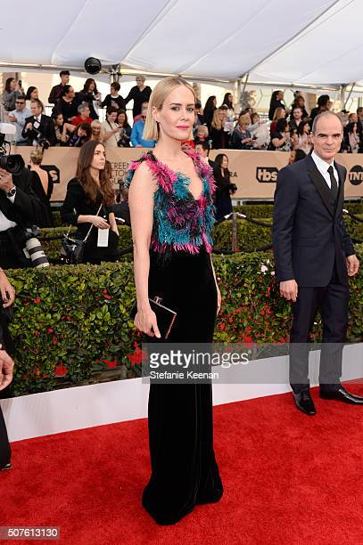 Actors Sarah Paulson and Michael Kelly attend The 22nd Annual Screen Actors Guild Awards at The Shrine Auditorium on January 30 2016 in Los Angeles...