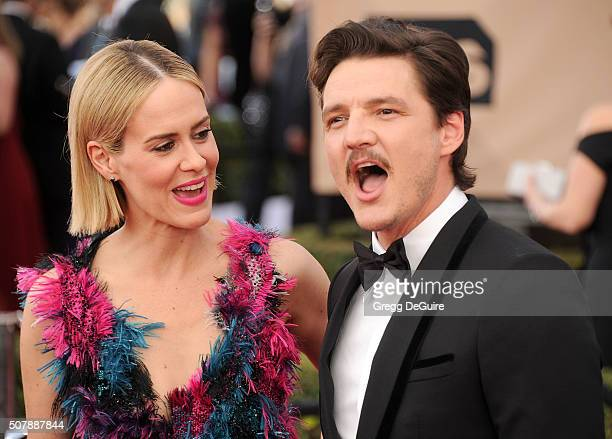 Actors Sarah Paulson and Pedro Pascal arrive at the 22nd Annual Screen Actors Guild Awards at The Shrine Auditorium on January 30, 2016 in Los...