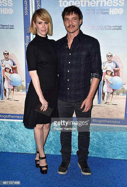 Actors Sarah Paulson and Pedro Pascal arrive at the Premiere of HBO's Togetherness at Avalon on January 6 2015 in Hollywood California