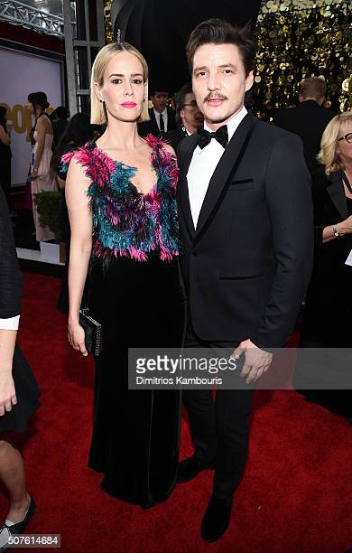 Actors Sarah Paulson and Pedro Pascal attend The 22nd Annual Screen Actors Guild Awards at The Shrine Auditorium on January 30 2016 in Los Angeles...