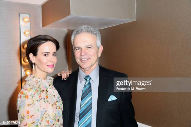 Actors Sarah Paulson and Tony Denison pose backstage at the 54th Annual International Cinematographers Guild Publicists Awards at The Beverly Hilton...