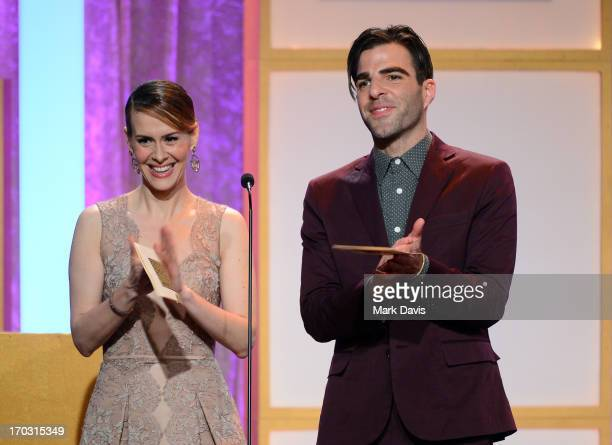 Actors Sarah Paulson and Zachary Quinto speak onstage during Broadcast Television Journalists Association's third annual Critics' Choice Television...