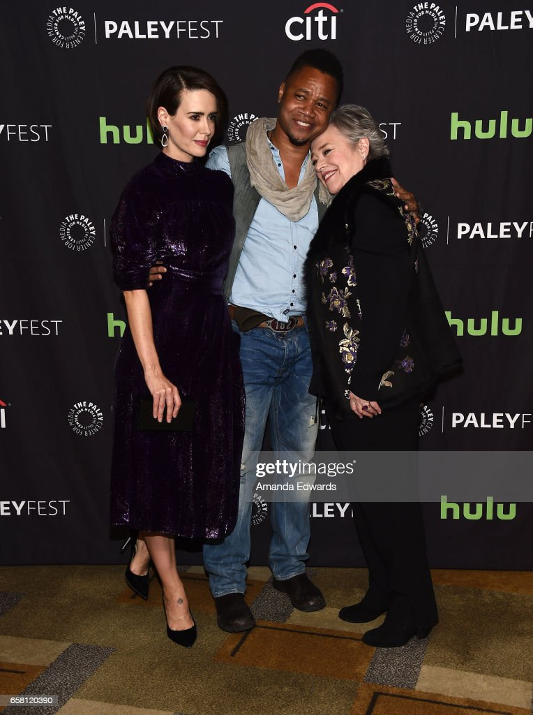 Actors Sarah Paulson, Cuba Gooding Jr. and Kathy Bates attend The Paley Center For Media's 34th Annual PaleyFest Los Angeles - 'American Horror Story: Roanoke' screening and panel at the Dolby Theatre on March 26, 2017 in Hollywood, California.