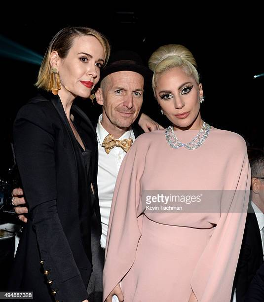 Actors Sarah Paulson Denis O'Hare and musician Lady Gaga attend the amfAR Inspiration Gala at Milk Studios on October 29 2015 in Hollywood California