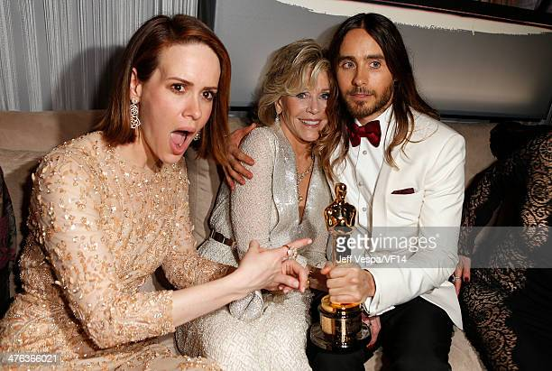Actors Sarah Paulson Jane Fonda and Jared Leto attend the 2014 Vanity Fair Oscar Party Hosted By Graydon Carter on March 2 2014 in West Hollywood...