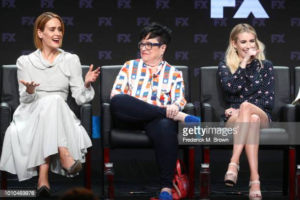 Actors Sarah Paulson Kathy Bates and Emma Roberts speak onstage at the 'American Horror Story Apocalypse' panel during the FX Network portion of the...