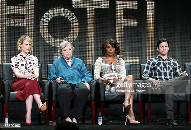 Actors Sarah Paulson Kathy Bates Angela Bassett and Wes Bentley speak onstage during the 'AHS Hotel' panel discussion at the FX portion of the 2015...