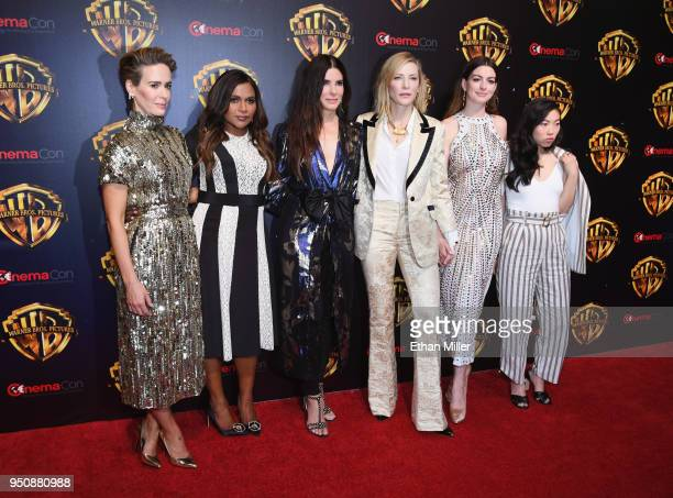 Actors Sarah Paulson Mindy Kaling Sandra Bullock Cate Blanchett Anne Hathaway and Awkwafina attend CinemaCon 2018 Warner Bros Pictures Invites You to...