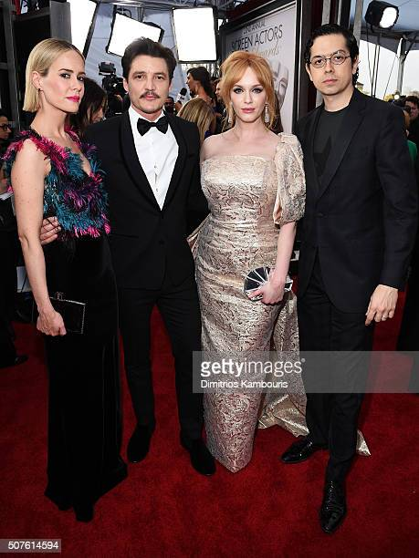 Actors Sarah Paulson Pedro Pascal Christina Hendricks and Geoffrey Arend attend The 22nd Annual Screen Actors Guild Awards at The Shrine Auditorium...
