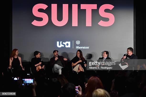 Actors Sarah Rafferty Meghan Markle Rick Hoffman Gina Torres creator/executive producer Aaron and Xfinity's Jim Halterman attend a QA following the...