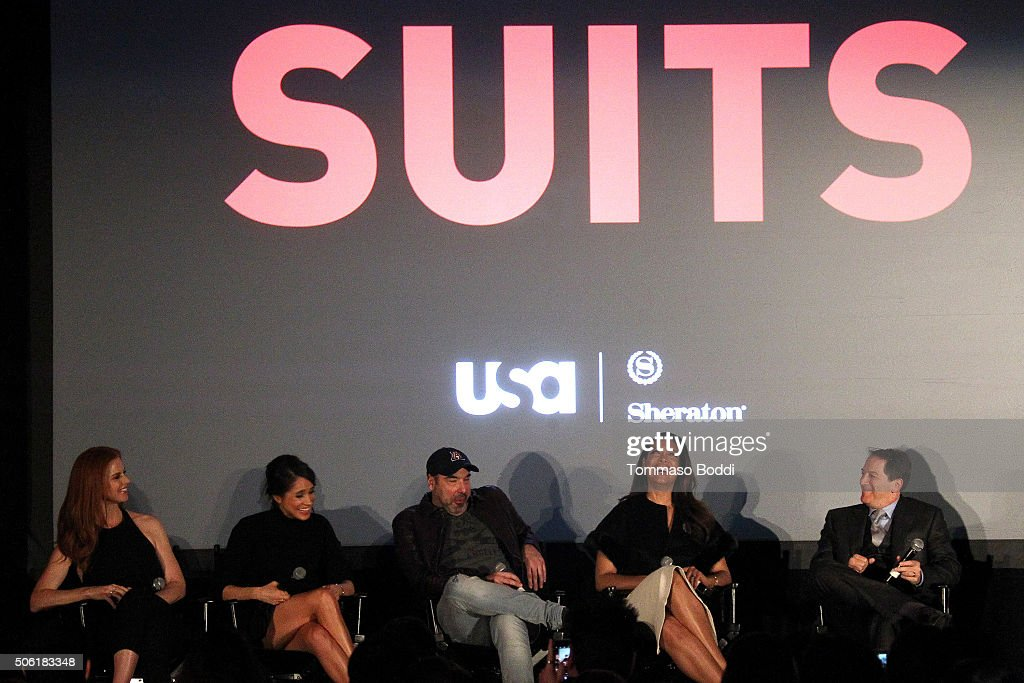 Actors Sarah Rafferty, Meghan Markle, Rick Hoffman, Gina Torres and Producer/Creator Aaron Korsh attend the premiere of USA Network's 'Suits' season 5 held at Sheraton Los Angeles Downtown Hotel on January 21, 2016 in Los Angeles, California.