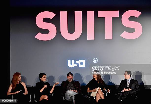 Actors Sarah Rafferty Meghan Markle Rick Hoffman Gina Torres and creator/executive producer Aaron Korsh attend a QA following the premiere of USA...