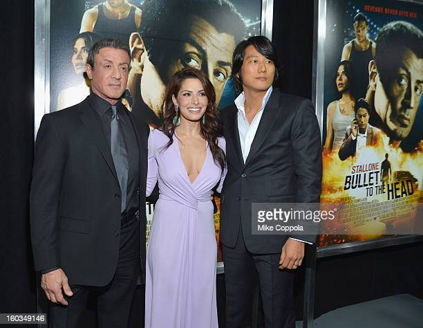 Actors Sarah Shahi Sung Kang and Sylvester Stallone attend the Bullet To The Head New York premiere at AMC Lincoln Square Theater on January 29 2013...