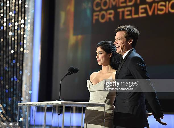 Actors Sarah Silverman and Jason Bateman speak onstage during The 22nd Annual Screen Actors Guild Awards at The Shrine Auditorium on January 30 2016...
