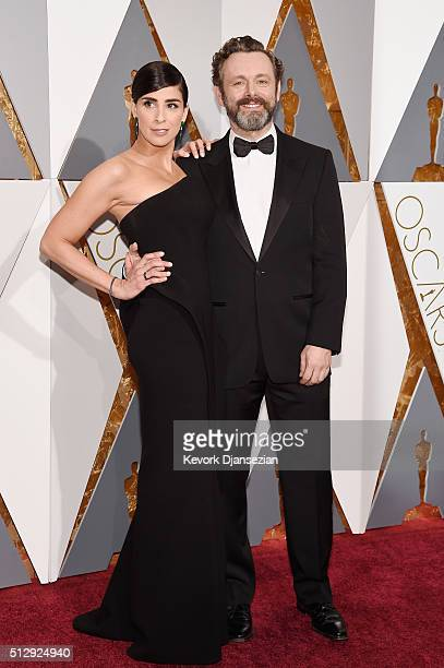 Actors Sarah Silverman and Michael Sheen attend the 88th Annual Academy Awards at Hollywood Highland Center on February 28 2016 in Hollywood...