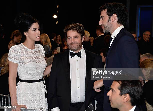 Actors Sarah Silverman Zach Galifianakis and Sacha Baron Cohen attend the 41st AFI Life Achievement Award Honoring Mel Brooks at Dolby Theatre on...