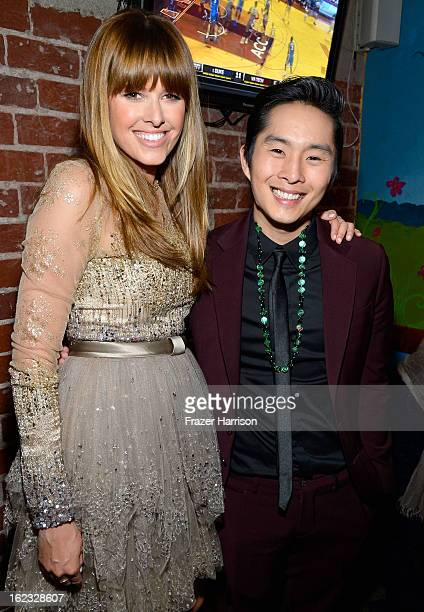 Actors Sarah Wright and Justin Chon attend Relativity Media's 21 and Over premiere after party at Westwood Brewing Co on February 21 2013 in Westwood...