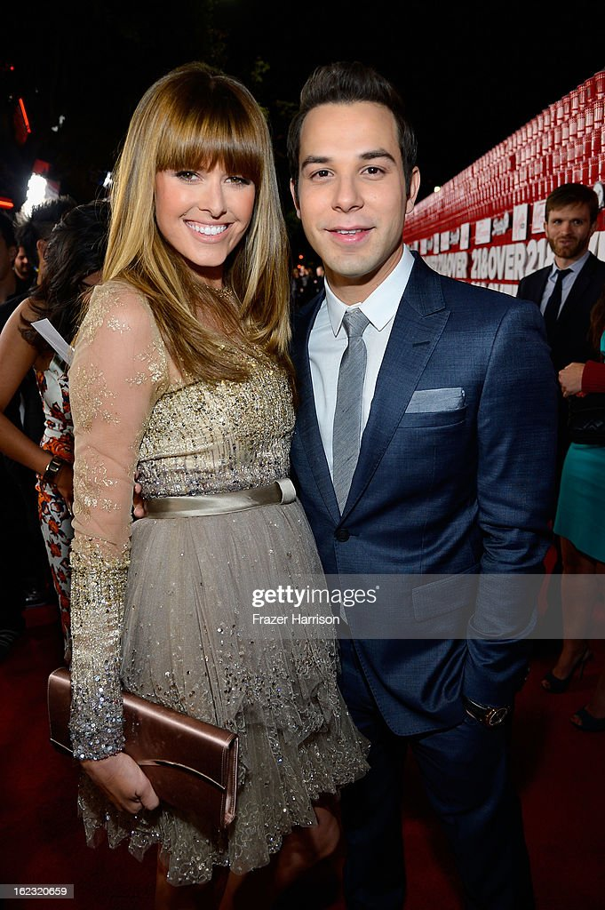 Actors Sarah Wright and Skylar Astin attend Relativity Media's '21 and Over' premiere at Westwood Village Theatre on February 21, 2013 in Westwood, California.