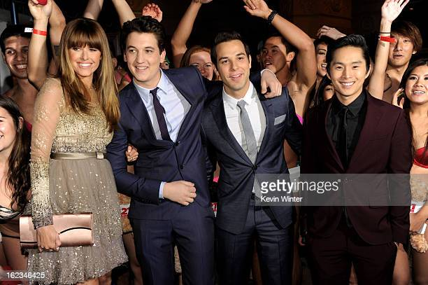 Actors Sarah Wright Miles Teller Skylar Astin and Justin Chon pose at the premiere of Relativity Media's 21 And Over at the Village Theatre on...