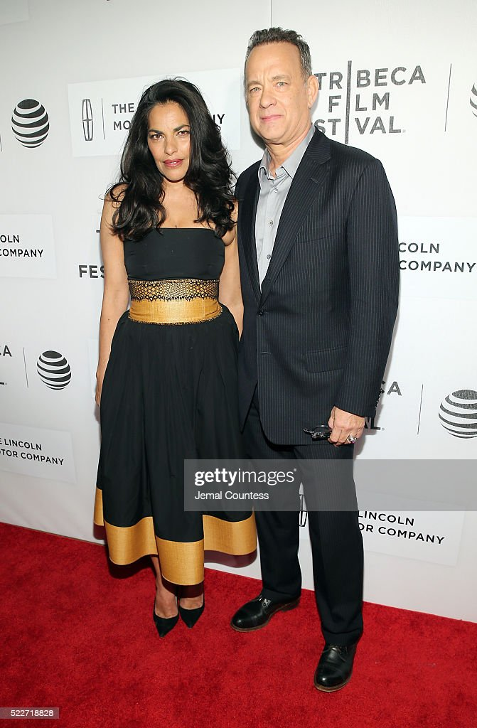 Actors Sarita Choudhury and Tom Hanks attend 'A Hologram For The King' World Premiere at the John Zuccotti Theater at BMCC Tribeca Performing Arts Center on April 20, 2016 in New York City.