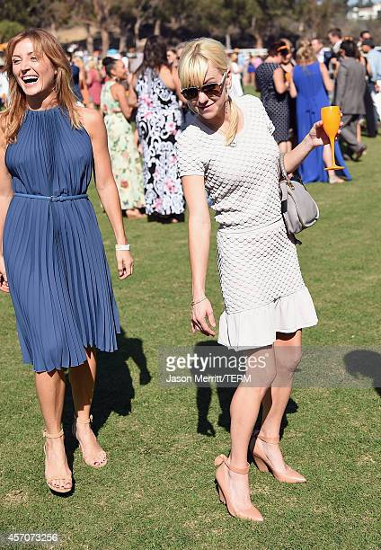 Actors Sasha Alexander and Anna Faris attend the FifthAnnual Veuve Clicquot Polo Classic at Will Rogers State Historic Park on October 11 2014 in...