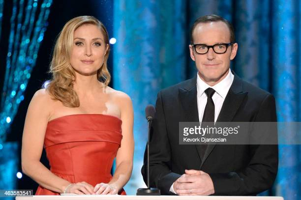 Actors Sasha Alexander and Clark Gregg speak onstage during the 20th Annual Screen Actors Guild Awards at The Shrine Auditorium on January 18 2014 in...