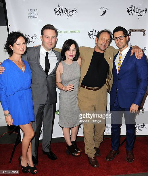Actors Sasha Higgins Sam Boxleitner Augie Duke Marc Siciliani and Patrick Cronen arrive for the Premiere Of The Badger Game held at Downtown...