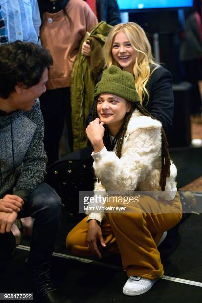 Actors Sasha Lane and Chloë Grace Moretz attend Outfest Queer Brunch at Sundance Presented By DIRECTV NOW and ATT Hello Lab during the 2018 Sundance...