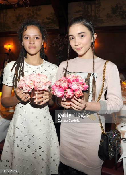 Actors Sasha Lane and Rowan Blanchard attend the Coach Rodarte celebration for their Spring 2017 Collaboration at Musso Frank on March 30 2017 in...