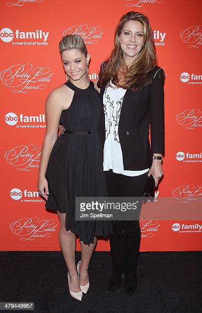Actors Sasha Pieterse and Andrea Parker attend the 'Pretty Little Liars' season finale screening at Ziegfeld Theater on March 18 2014 in New York City