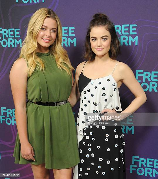 Actors Sasha Pieterse and Lucy Hale arrive at the 2016 Winter TCA Tour Disney/ABC at Langham Hotel on January 9 2016 in Pasadena California